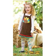 Little Girls Turkey Jumper and Tights Multi-Colored