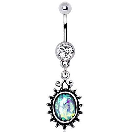 Body Accentz  Belly Button Ring Navel 14g CZ Synthetic Opal Antique Wall Mirror Dangle