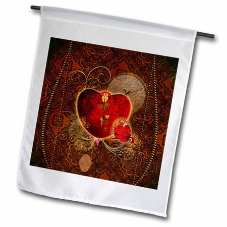 3dRose Wonderful Heart with Gears and Rose Polyester 1'6'' x 1' Garden - Flag Gear