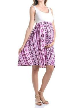 812125dfd098e Product Image Beachcoco Women's Maternity Knee Length Printed Tank Dress  (S, Creme/Pink Tribal)