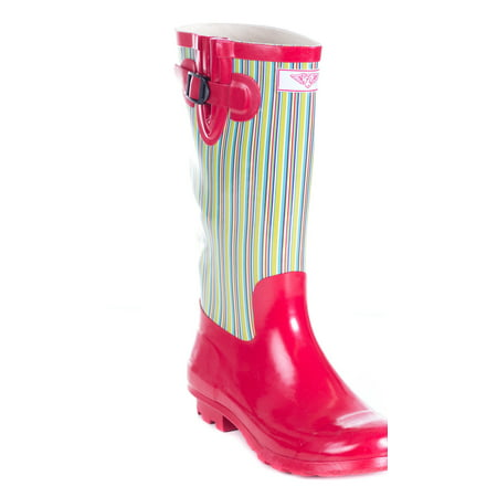 Women Rubber Rain Boots - Retro Red](Retro Boots)