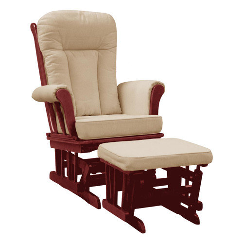 Dream On Me Elysium Glider Rocker and matching Ottoman ,Cherry Glider with Beige Cushion