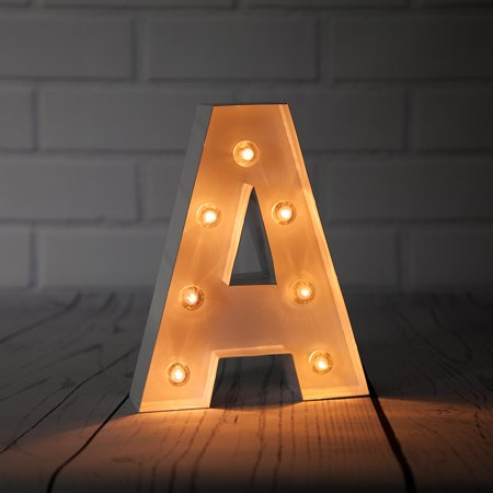 Fantado White Marquee Light Letter 'A' LED Metal Sign (8 Inch, Battery Operated w/ Timer) by PaperLanternStore ()