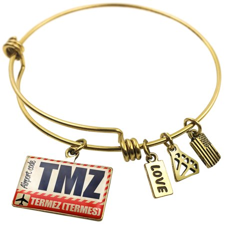 Expandable Wire Bangle Bracelet Airportcode Tmz Termez  Termes    Neonblond