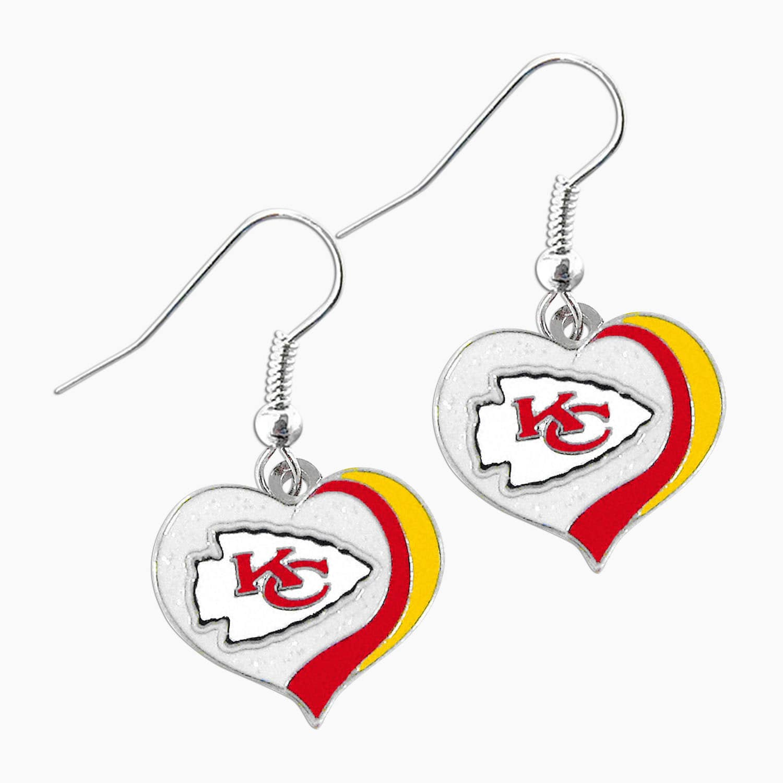 Aminco NFL Kansas City Chiefs Glitter Heart Earring Swirl Charm Set