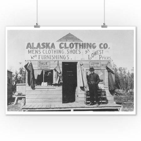 Man in Front of Alaska Clothing Co. in Anchorage Photograph (9x12 Art Print, Wall Decor Travel