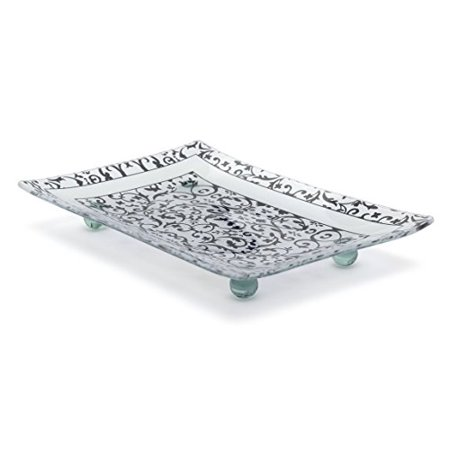 Fused Glass Platters - Florentine Designed Charcoal Tempered Glass Rectangular Serving Tray on Glass Ball Legs Unbreakable – Chip Resistant – Oven Proof – Microwave Safe Decorative Platter