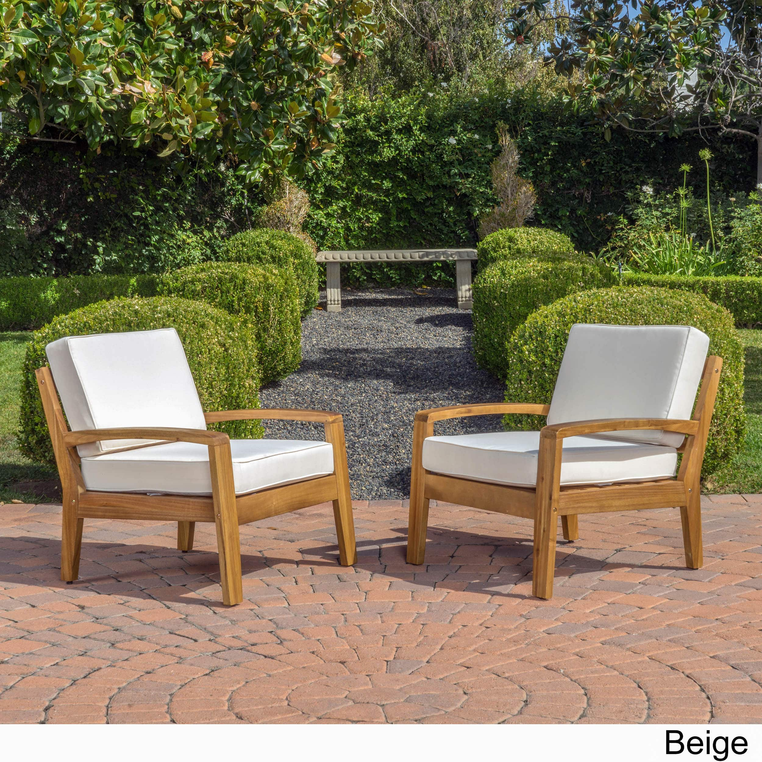 Best Selling Home Grenada Acacia Wood Patio Lounge Chairs - Set of 2