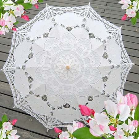 ENJOY New Lace Embroidery Parasol Umbrella Lady Costume Accessory For Bridal Wedding Party - Costume Party Decorations
