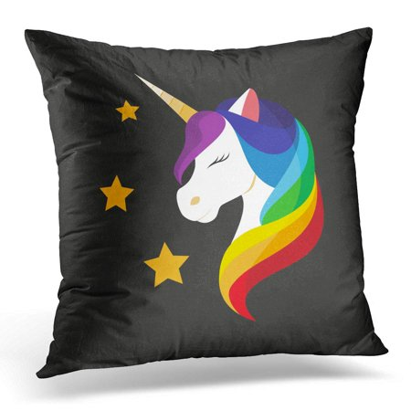 ECCOT Embroidery Unicorn with Closed Eyes Rainbow Mane Mobile Application on Black Flat Design Style Accessory Pillowcase Pillow Cover Cushion Case 20x20 (Different Eye Black Styles)