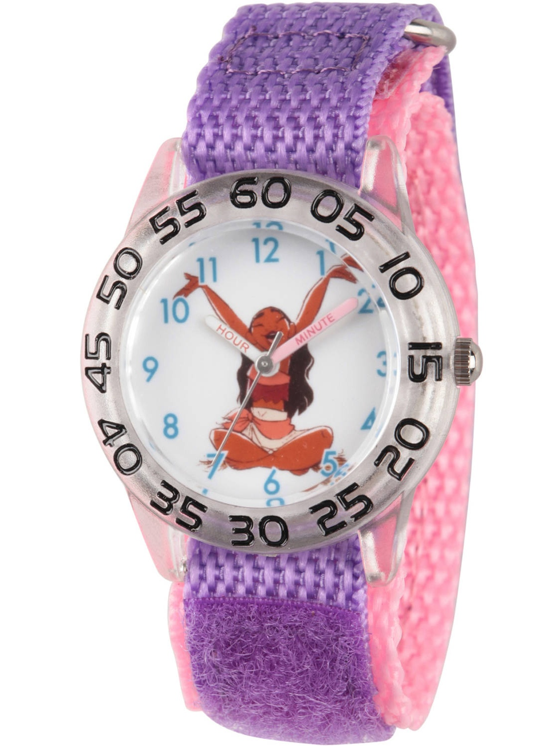 Moana Girls' Clear Plastic Time Teacher Watch, Purple Hook and Loop Nylon Strap with Pink Backing