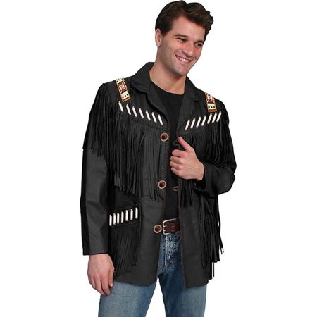 Men's Scully Fringe Leather Jacket 902 Long