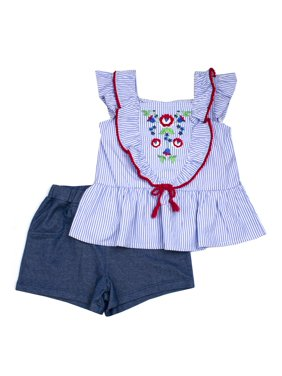 56b1f8ac5acf4 Product Image Embroidered Ruffled Woven Stripe Top and Chambray Short,  2-Piece Outfit Set (Little