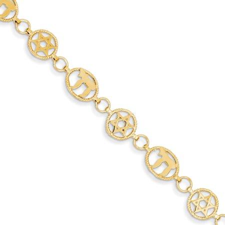 Roy Rose Jewelry 14K Yellow Gold Chai & Star of David Bracelet ~ Length 7'' inches David Yurman Gold Bracelet