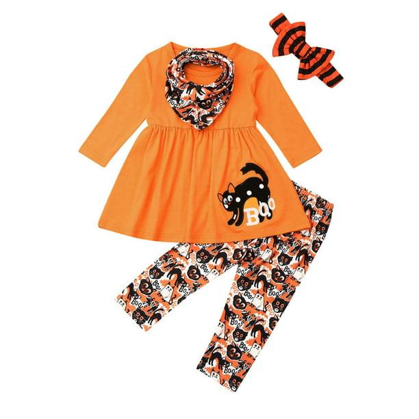Calsunbaby Calsunbaby 4pcs Toddler Baby Girl Halloween Clothes Cotton Tops Dress Animal Pants Outfits Walmart Com Walmart Com