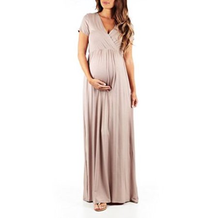 - Maternity Casual Long Dress Pregnant Pregnancy Women Photography Prop Maxi Gown V neck Loose Summer Short Sleeve Dresses