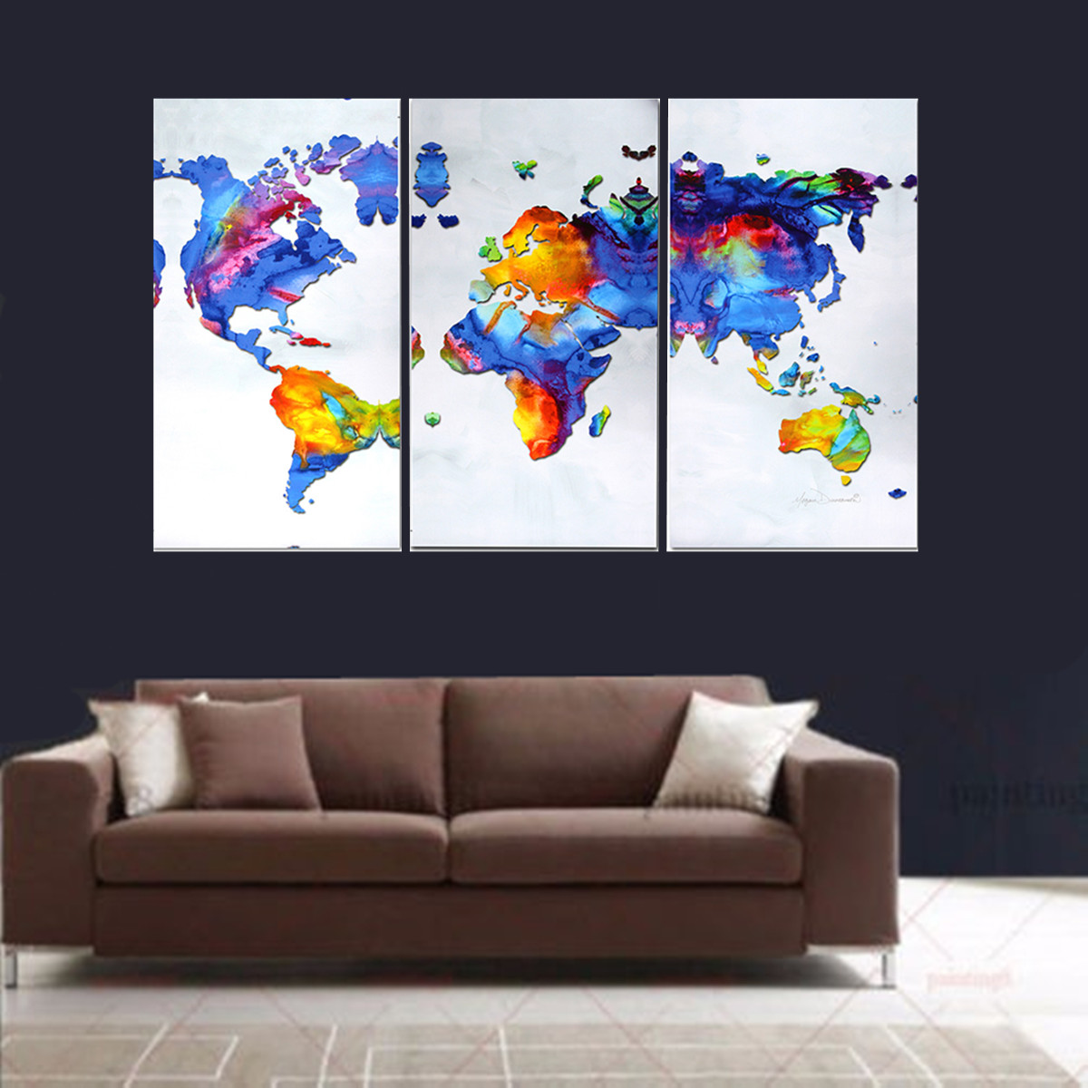 3 Piece Unframed World Map Modern Hd Canvas Wall Art Print Pictures