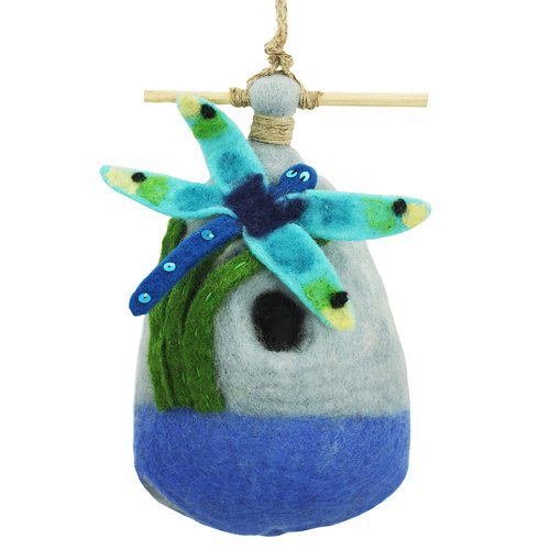 Global Crafts Big Dragonfly Felt 9 in x 5 in x 3 in Birdhouse