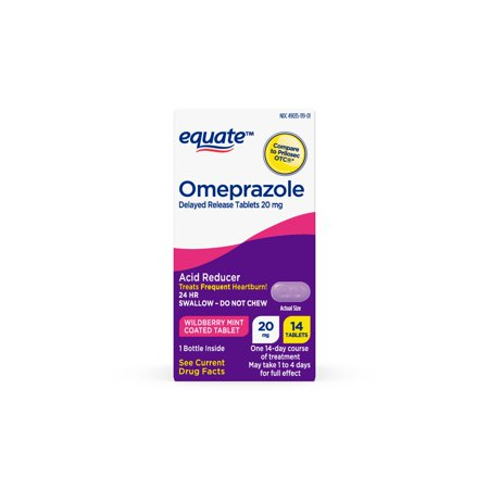 Equate Omeprazole Delayed-Release Acid Reducer Tablets, Wildberry Mint Flavor, 20mg, 14