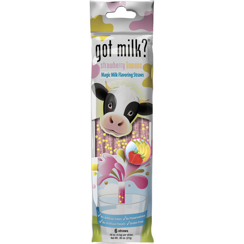 Got Milk? Strawberry Banana Magic Milk Flavoring Straws, 0.16 oz, 6 ct
