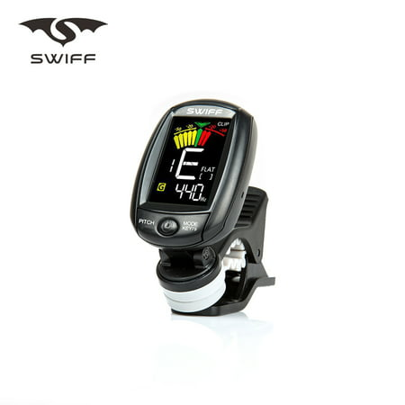 SWIFF A3-CS Rotatable Clip-on Tuner LCD Colorful Display Supports Vibration & Microphone Tuning for Chromatic Guitar Bass Ukulele Violin - image 6 of 7