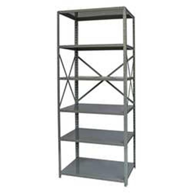 Hallowell F5511-18HG Hallowell Hi-Tech Free Standing Shelving 36 in. W x 18 in. D x 87 in. H 725 Hallowell Gray 6 Adjustable Shelves Stand Alone Unit Open Style with Sway Braces