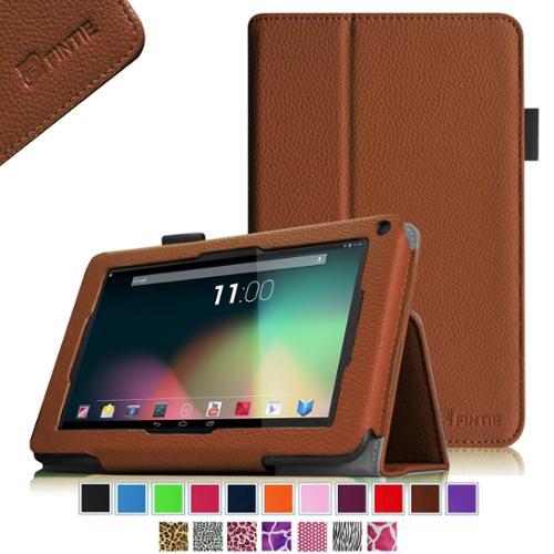 "Fintie RCA 7"" Tablet / RCA Voyager II 7"" Tablet Folio Case Premium PU Leather Stand Cover, Brown"
