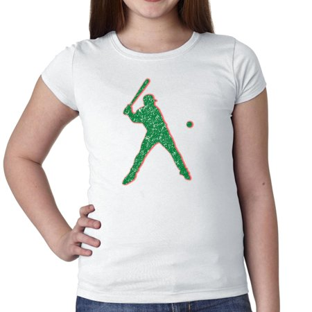 Softball Player Hitting Ball Silhouette Colorful Trendy Girl's Cotton Youth T-Shirt