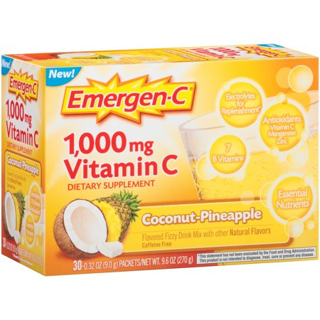 Emergen C  30 Count  Coconut Pinapple Flavor  Dietary Supplement Fizzy Drink Mix With 1000Mg Vitamin C  0 32 Ounce Packets  Caffeine Free