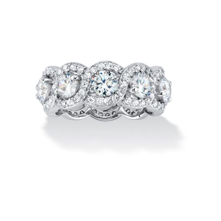 4.60 TCW Cubic Zirconia Halo Crossover Eternity Ring in Platinum over .925 Sterling - Sterling Silver Crossover Ring