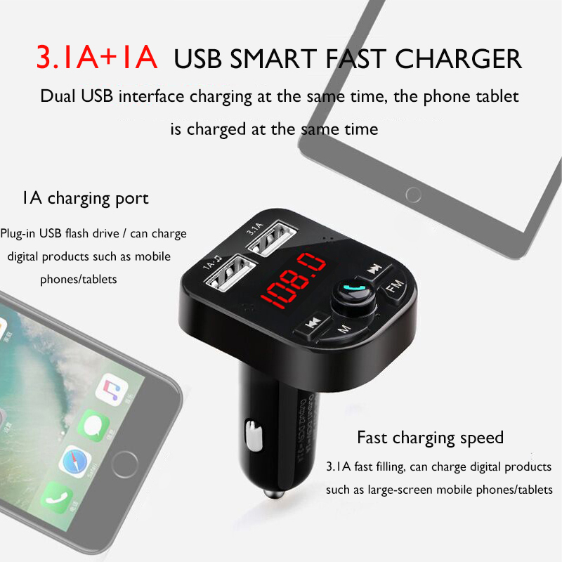 KALENI Car MP3 Music Player with USB Car Charger Bluetooth FM Transmitter for Car Wireless in-Car Radio Transmitter Adapter Car Kit Support TF Card and USB Flash Drive