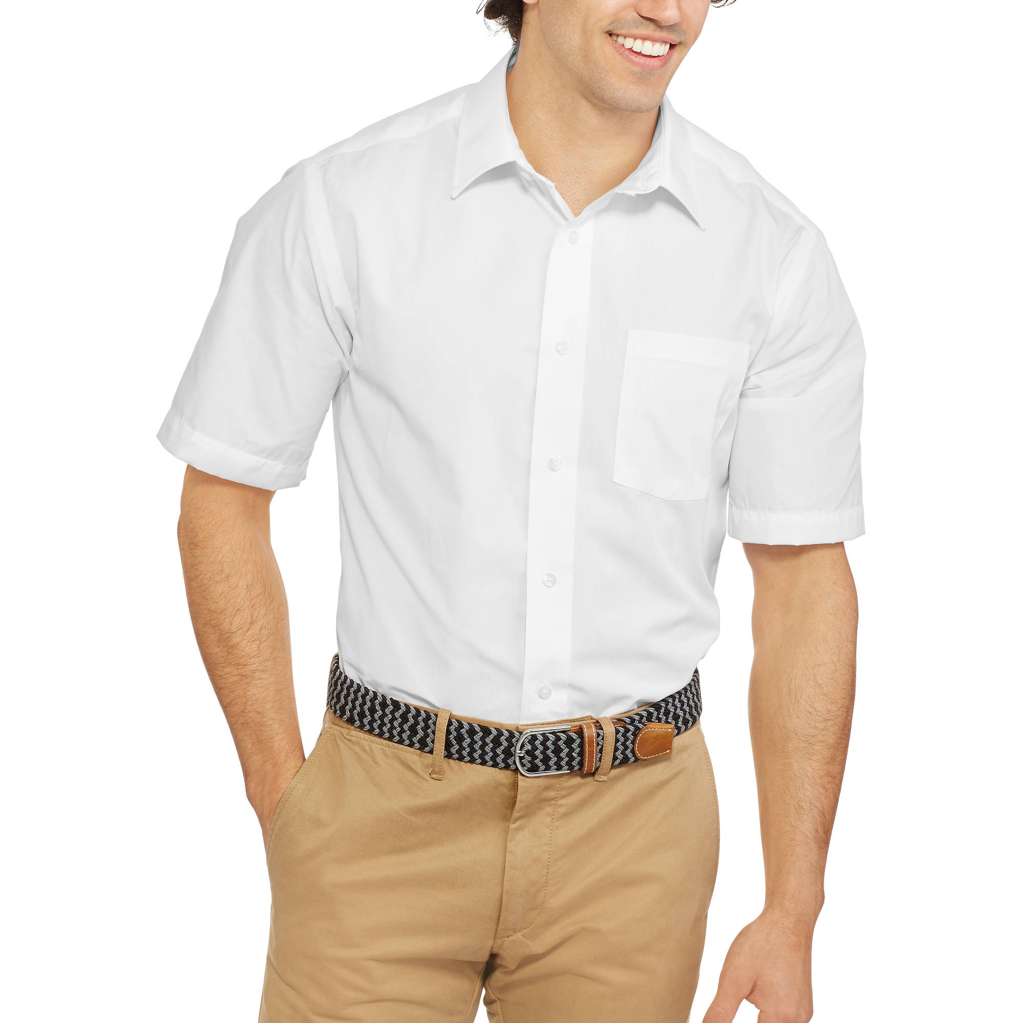 George Men's Short Sleeve Poplin Dress Shirt - Walmart.com
