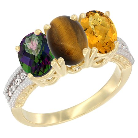 14K Yellow Gold Natural Mystic Topaz, Tiger Eye & Whisky Quartz Ring 3-Stone 7x5 mm Oval Diamond Accent, sizes 5 - 10