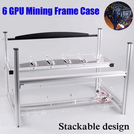 Aluminum case Open Air Mining Miner Rig Case Frame Stackable USB Interface For 6 GPU ETH BTC Ethereum Coin Crypto-currency Without