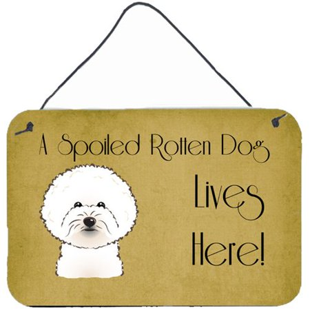 Bichon Frise Dog Art - Caroline's Treasures Bichon Frise Spoiled Dog Lives Here by Denny Knight Graphic Art Plaque