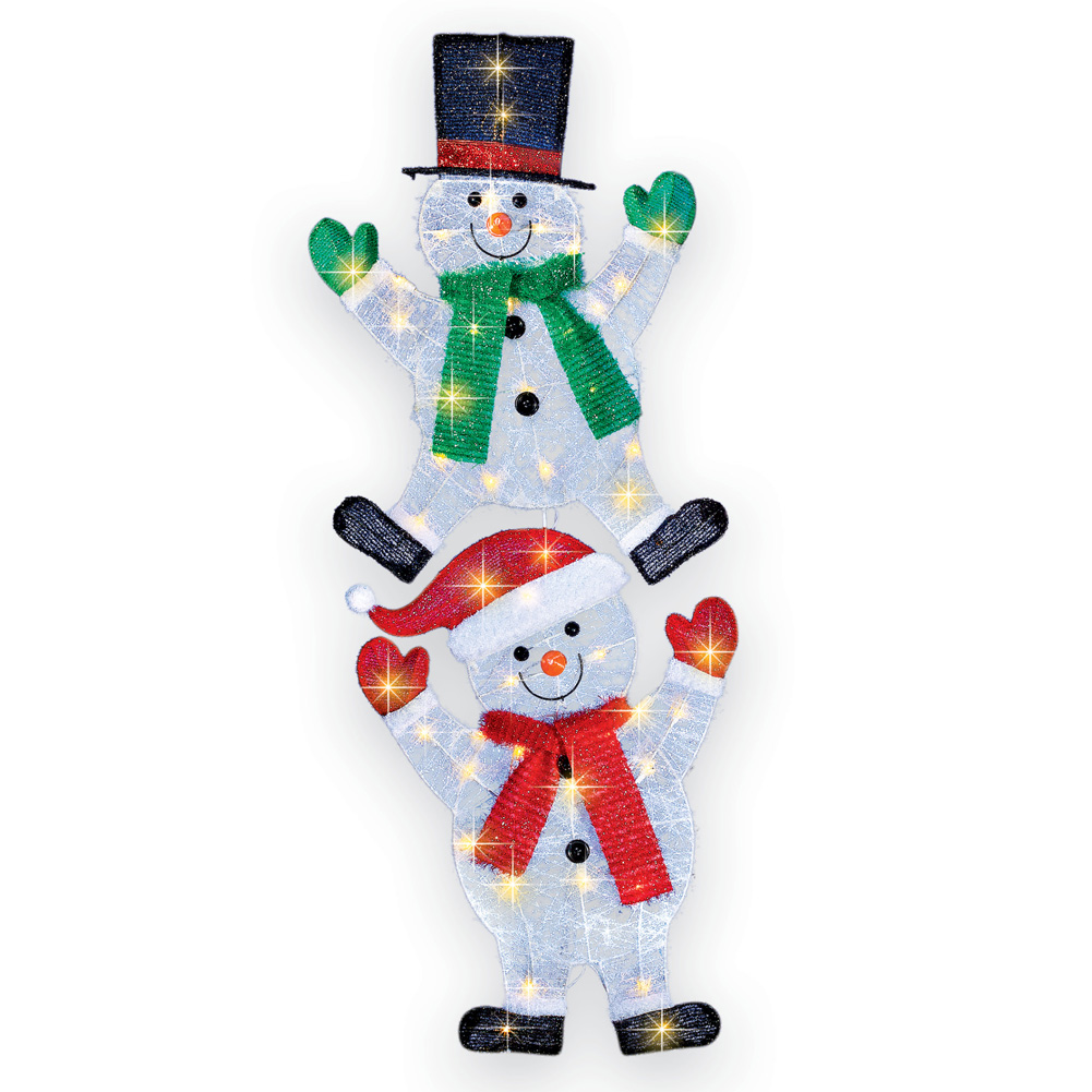 Lighted Festive Snowmen Outdoor Winter Decoration Garden Stake by Collections Etc