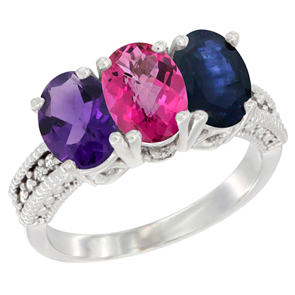 14K White Gold Natural Amethyst, Pink Topaz & Blue Sapphire Ring 3-Stone 7x5 mm Oval Diamond Accent, sizes 5 10 by WorldJewels