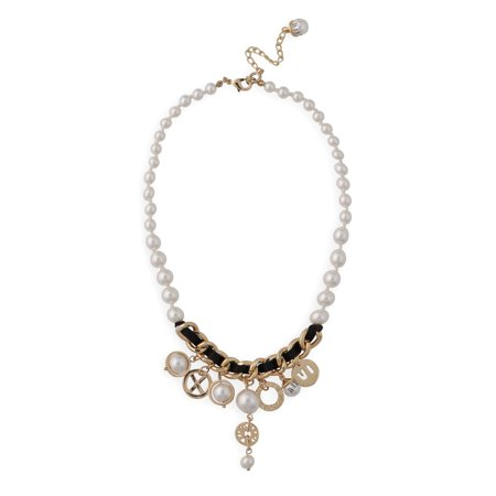 Roman Women's Simulated Pearl Clock-Inspired Charm Necklace, 16