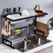 2-Tier Sink Rack Dish Drainer Sink Racks Storage Rack, for Kitchen, Over The Sink, Stainless Steel, 33.5x20x12.2 inch
