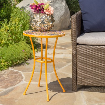 Jana Outdoor Ceramic Tile Side Table with Iron Frame, Yellow