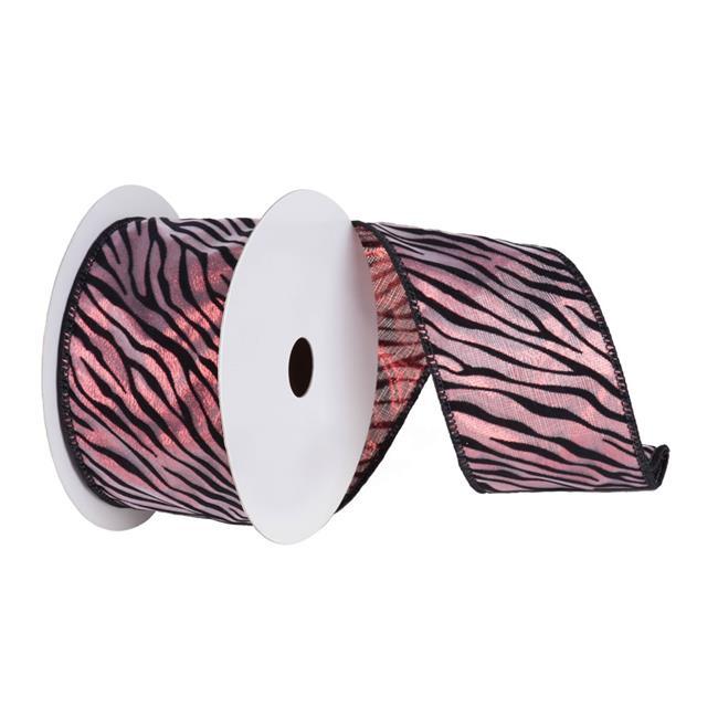 Vickerman Q143857 Red Lame Velvet Black Zebra Ribbon, 2.5 in. x 10 yard - image 1 of 1