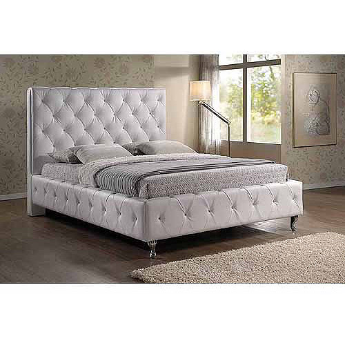 Baxton Studio Stella Queen Crystal Tufted Modern Bed with Upholstered Headboard, White