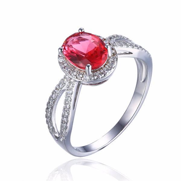 Pink Tourmaline Oval Cut 1.7CT IOBI Precious Gems Halo Ring 6   Pink Oval Ring by Feshionn IOBI