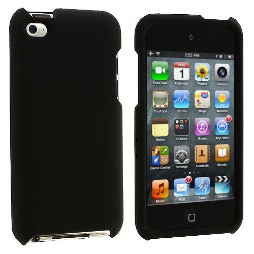 Hard Rubberized Case for iPod Touch 4th Gen - Black