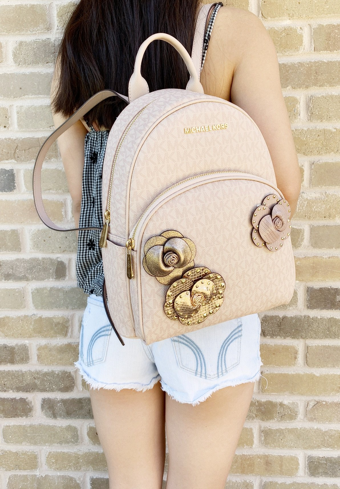 143027431bc57 Michael Kors - Michael Kors Abbey Medium Backpack Ballet Pink MK Signature  Flower School Bag - Walmart.com