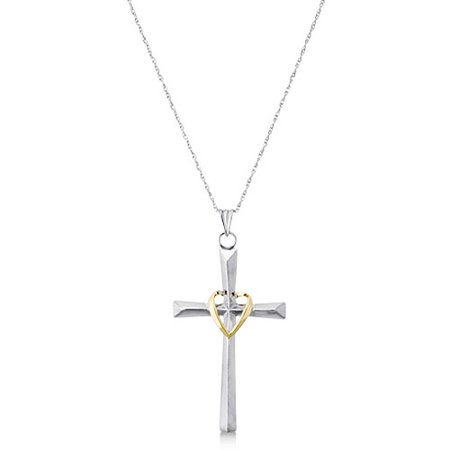 Love Earth Ss/10k Cross With Gold Heart At Center