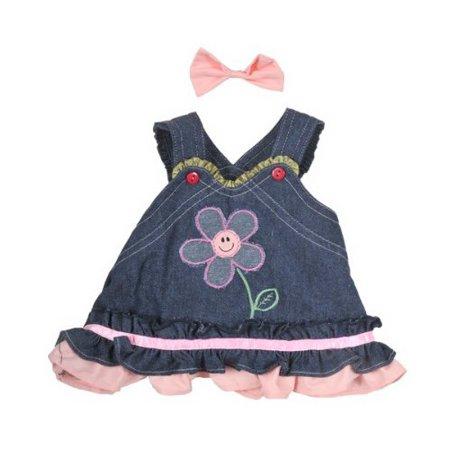 Dressed Teddy Bear - Summer Denim Dress w/Bow Teddy Bear Clothes Outfit Fits Most 14