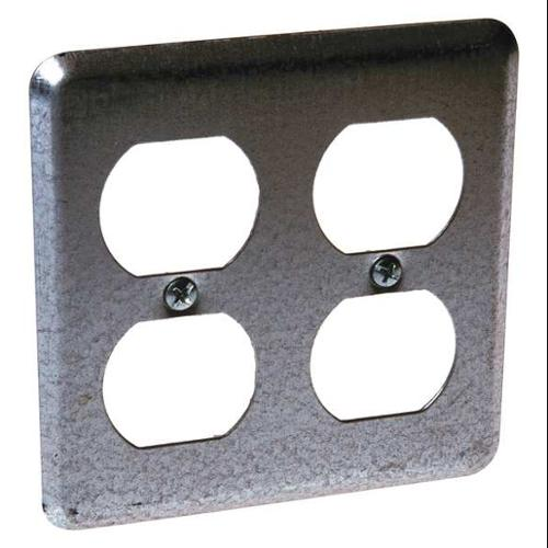 RACO 873 Box Cover,4 In,2 Duplex Receptacles