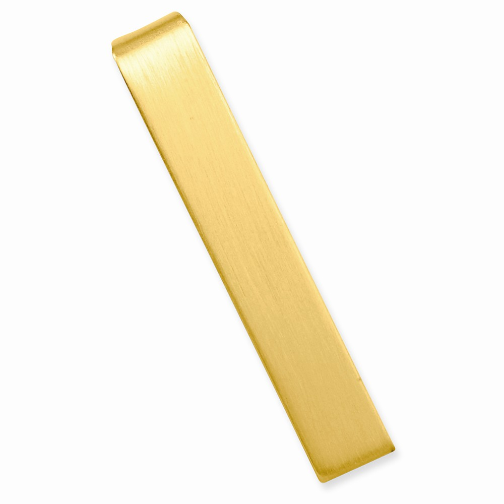 Gold-plated Engravable Satin Tie Bar. Lovely Leatherrete Gift Box Included