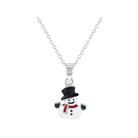 925 Sterling Silver Christmas Hat Snowman Enamel Necklace Pendant for Girls 16